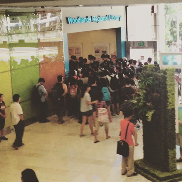 it ain't no sale, just the morning crowd to get into the library. :) SG can!