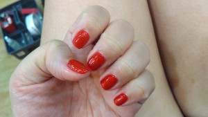 Gelish Red w Glitter