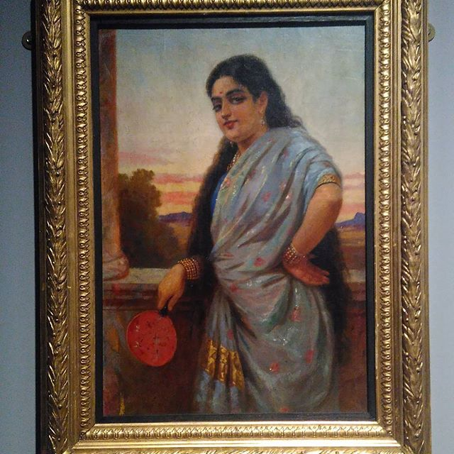 """Woman Holding a Fan"" by Raja Ravi Varma ~ Paint me like one of your Indian girls. :D"