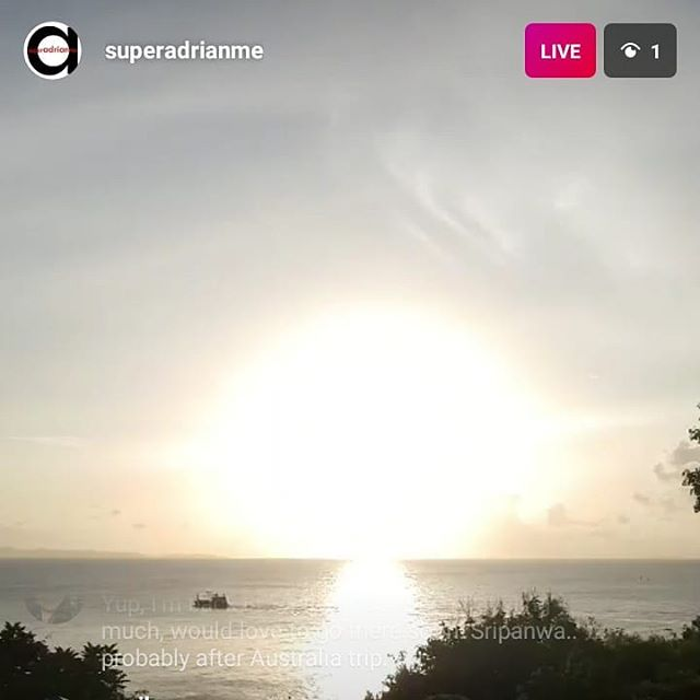 Screengrab from @superadrianme 's live video at Sripanwa resort in Phuket.. wa....... Should go there soon man...